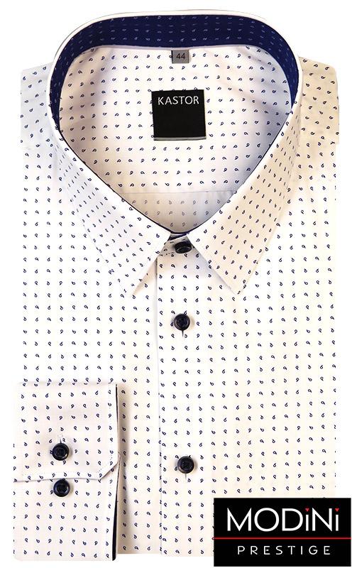 Biała koszula męska Kastor - granatowe łezki