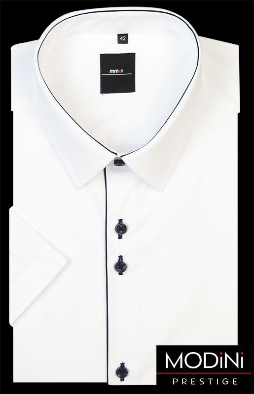 Biała koszula z krótkim rękawem - granatowa lamówka.