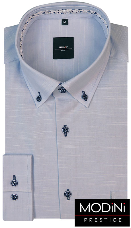 Jasno niebieska koszula męska z dodatkiem lnu