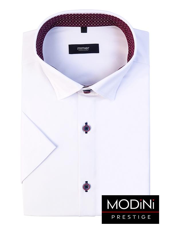 Biała koszula męska Mmer z krótkim rękawem i bordowymi wykończeniami 542