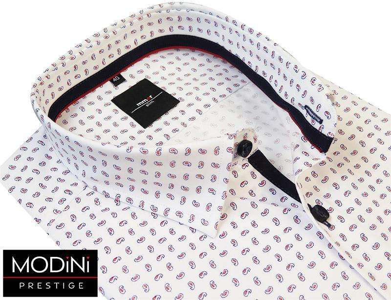Biała koszula męka w drobny czerwony paisley