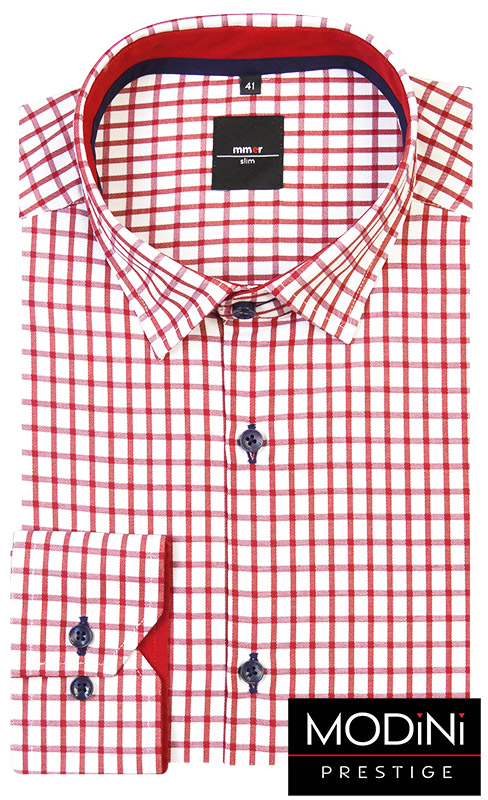 Biała koszula męska w czerwoną kratkę