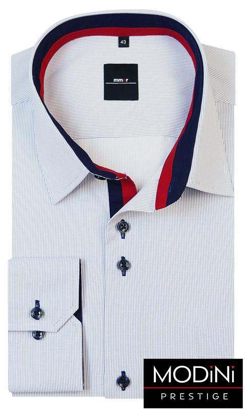 Biała koszula męska w delikatne granatowe prążki - 153 NEW