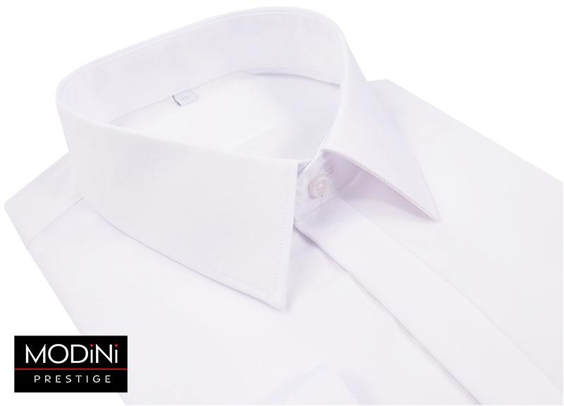 Biała koszula z krytą plisą na spinkę 100% bawełny