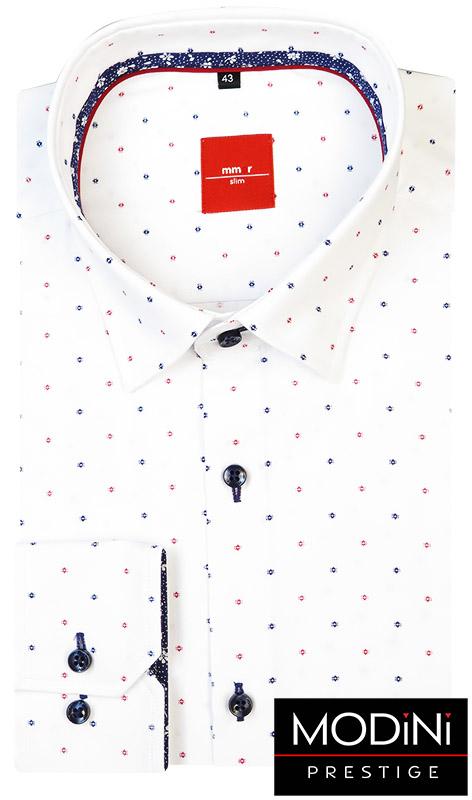 Biała koszula Mmer z granatowo-czerwonym wzorem