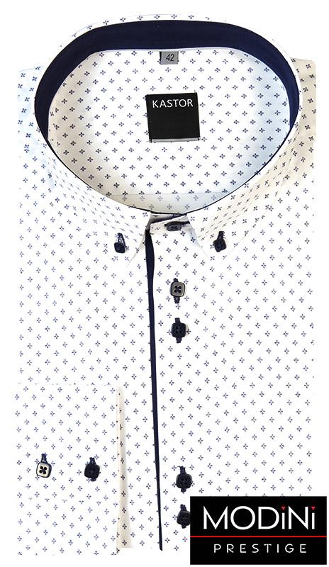 Biała koszula męska Kastor w granatowe romby - button-down