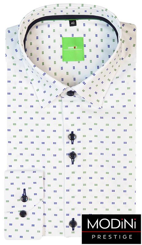 Biała koszula męska w granatowo-zielony wzór.