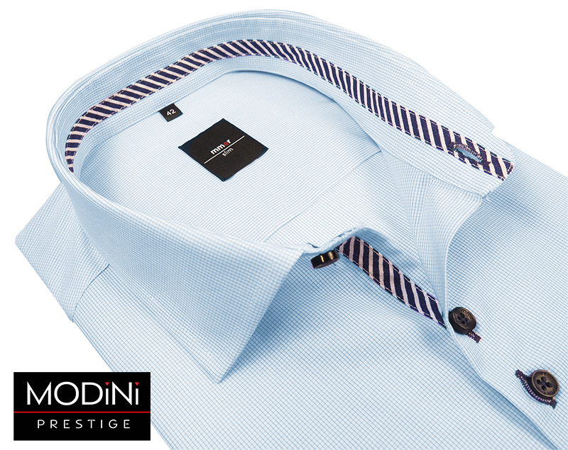 Błękitna koszula męska - delikatna kratka