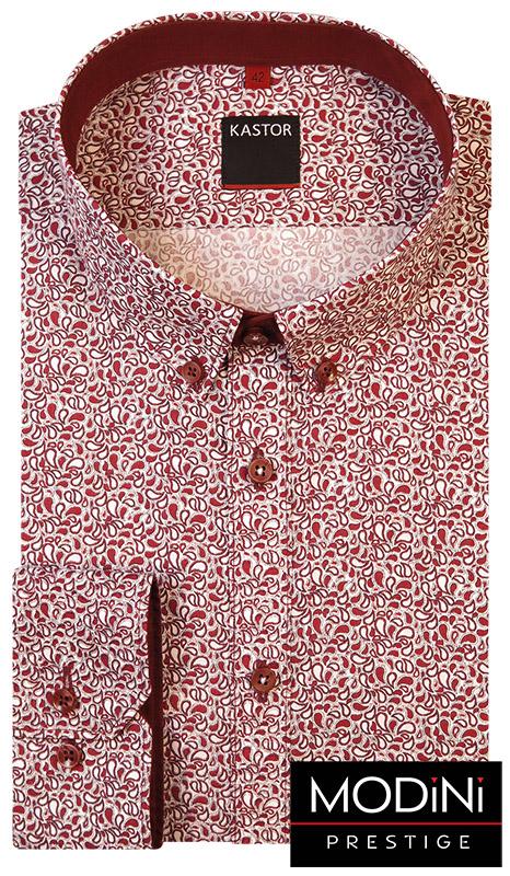 Biała koszula męska w bordowy wzór paisley