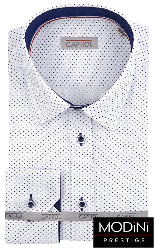 Biała koszula w granatowe kropki