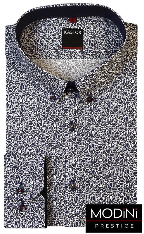 Biała koszula męska w granatowy wzór paisley