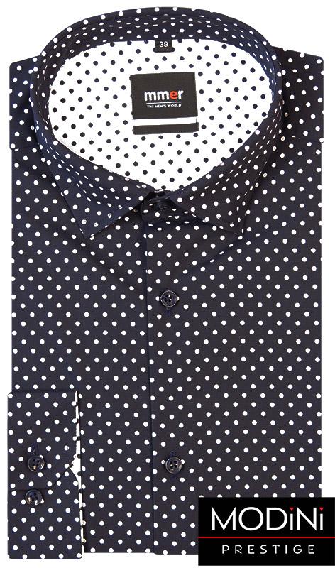 Granatowa koszula męska - białe grochy 175