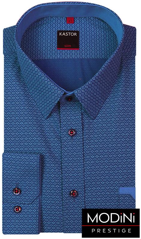 Granatowa koszula męska w niebieskie kwiatki