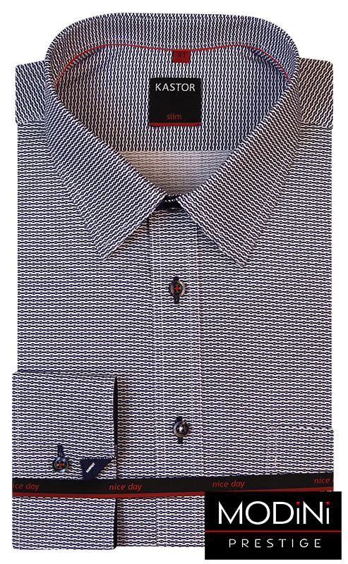 Biała koszula męska w gęsty granatowy wzór