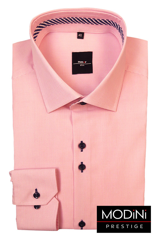 Różowa koszula męska - delikatna kratka