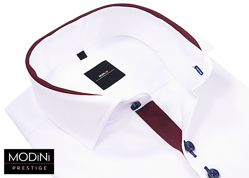 Biała koszula z bordową lamówką 883