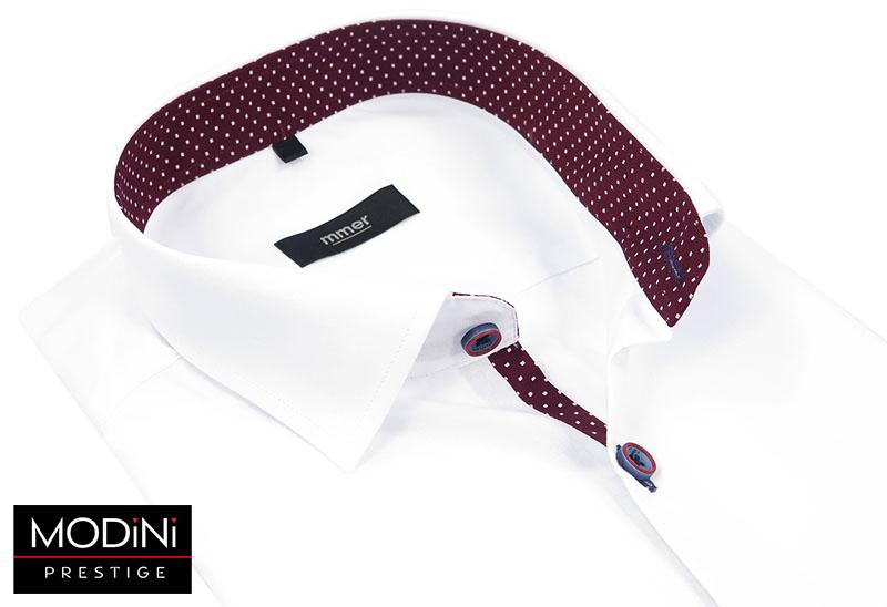 Biała koszula z bordową lamówką w kropki 539