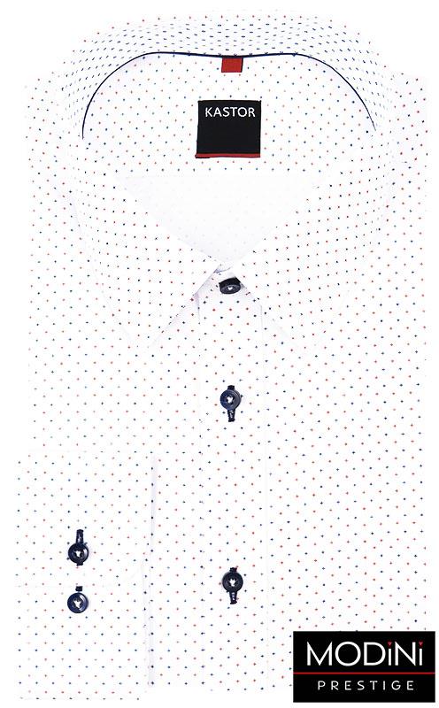 Biała koszula męska w granatowe i czerwone krzyżyki K53