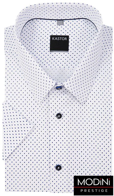 Biała koszula męska z krótkim rękawem - granatowe romby K36