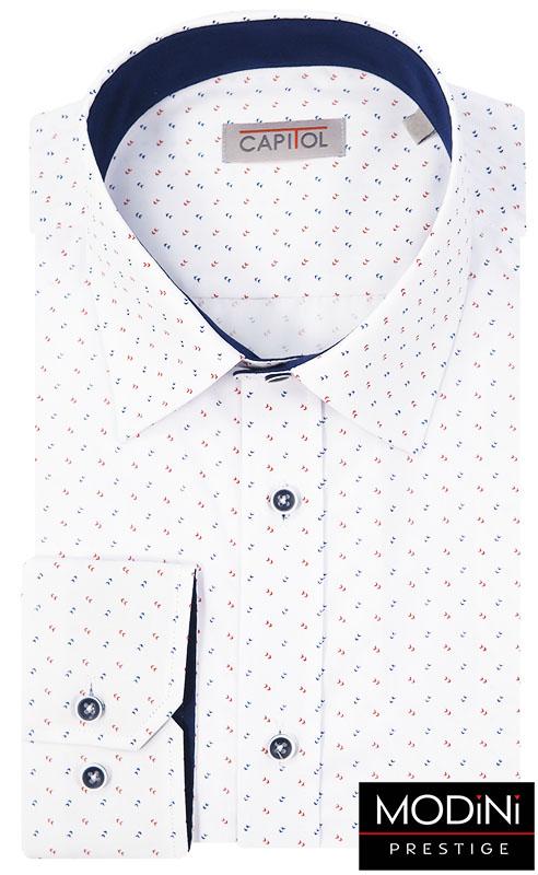 Biała koszula w delikatny czerwono-granatowy wzór C13