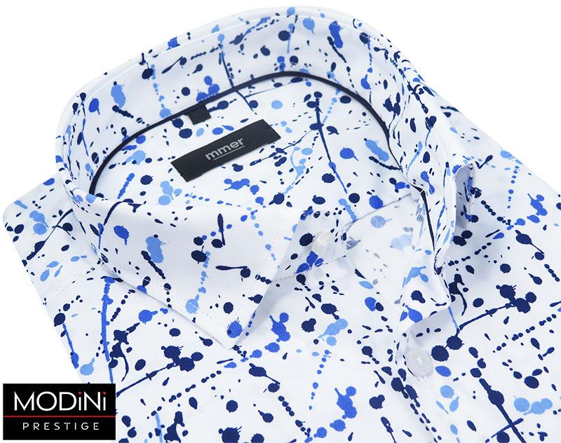 Biała koszula męska w granatowo-niebieskie plamy 525