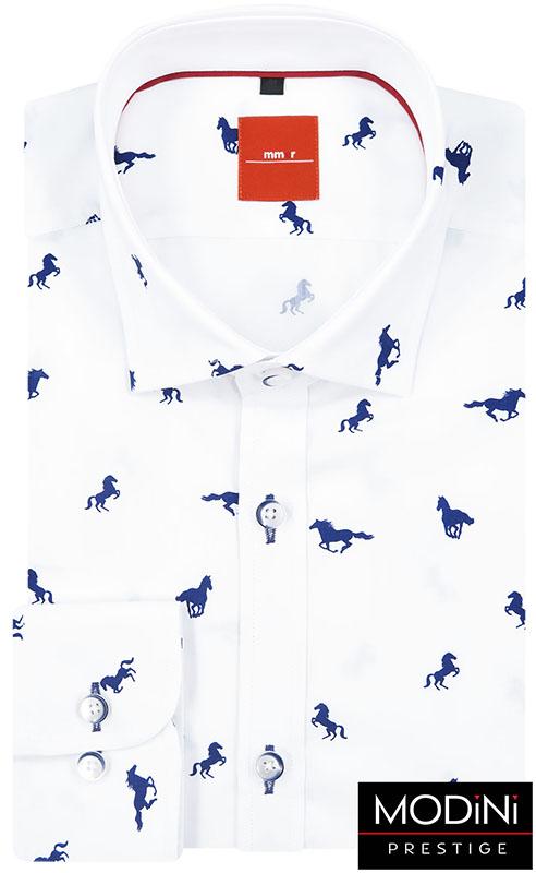Biała koszula męska w konie 118