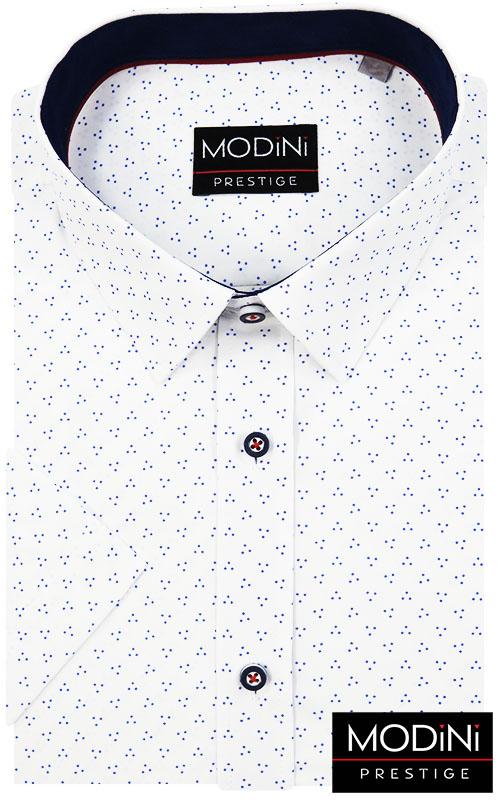 Biała koszula Modini na krótki rękaw w granatowe kropki
