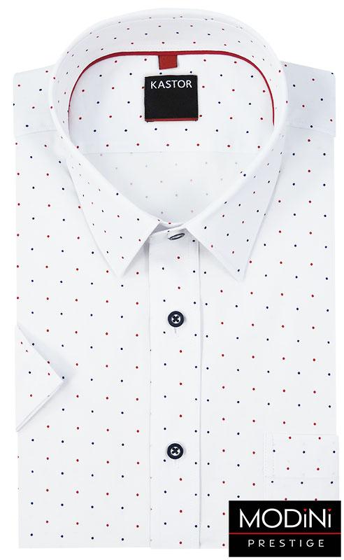Biała koszula męska z krótkim rękawem - kolorowe kropki K37