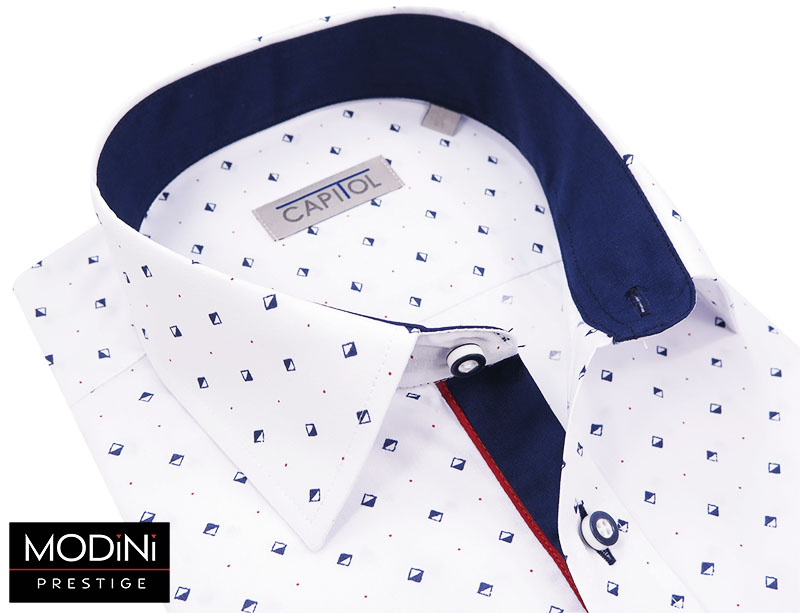 Biała koszula z krótkim rękawem - granatowe kwadraty A17