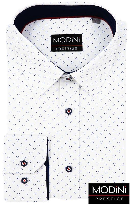 Biała koszula z długim rękawem w granatowe kropki