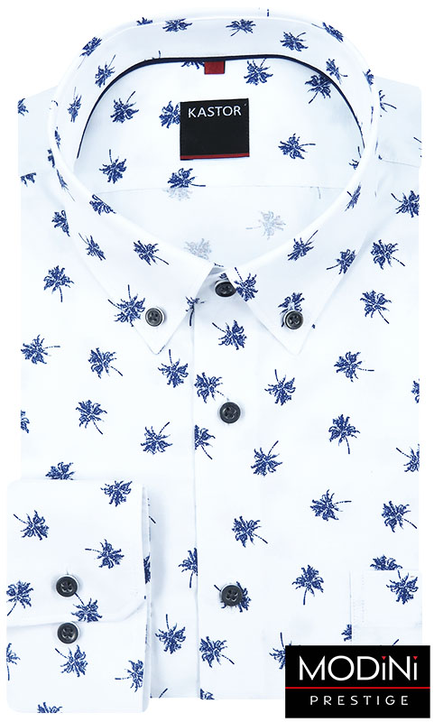 Biała koszula męska w granatowe palmy K28