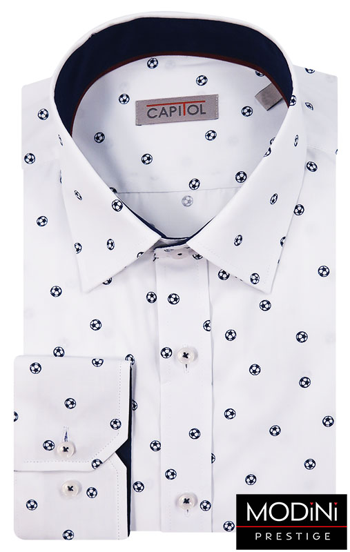 Biała koszula męska w granatowe piłki C16