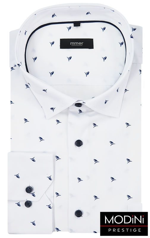 Biała koszula w granatowe żaglówki 527