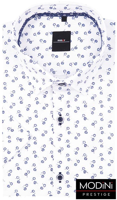 Biała koszula męska w granatowe kwiatki 389