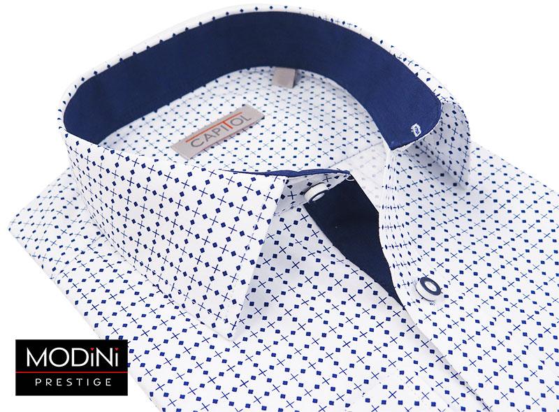 Biała koszula męska z granatowymi kwadratami C10