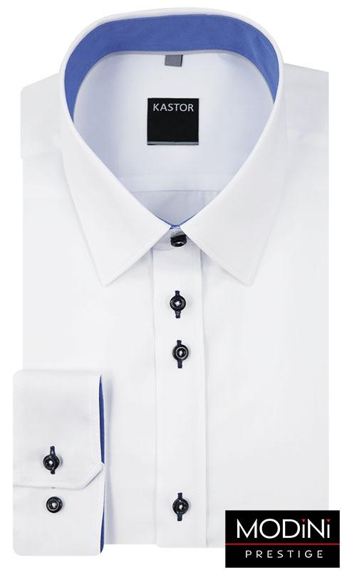 Biała koszula z niebieskimi dodatkami K40