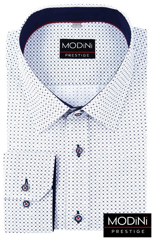 Biała koszula w granatową kratkę w kropki A16