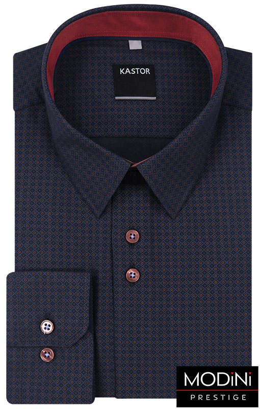 Granatowa koszula w bordowe kółka K48