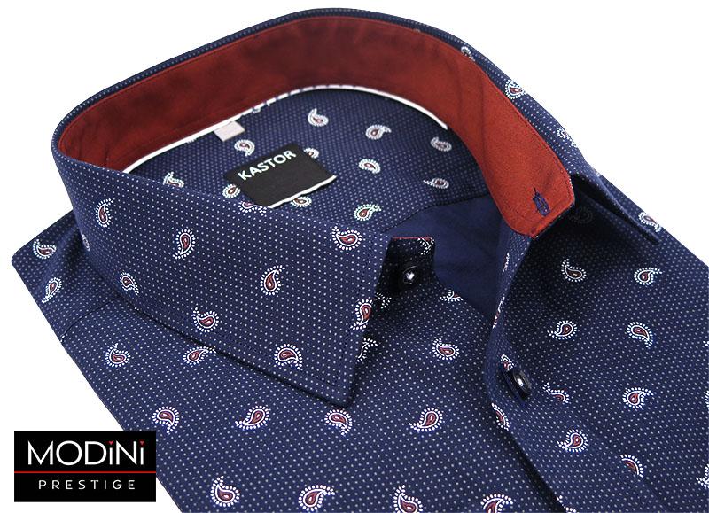 Granatowo koszula męska we wzór paisley K55
