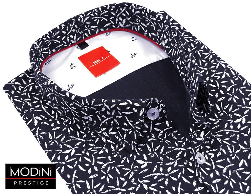 Granatowa koszula męska z białym unikalnym wzorem 346