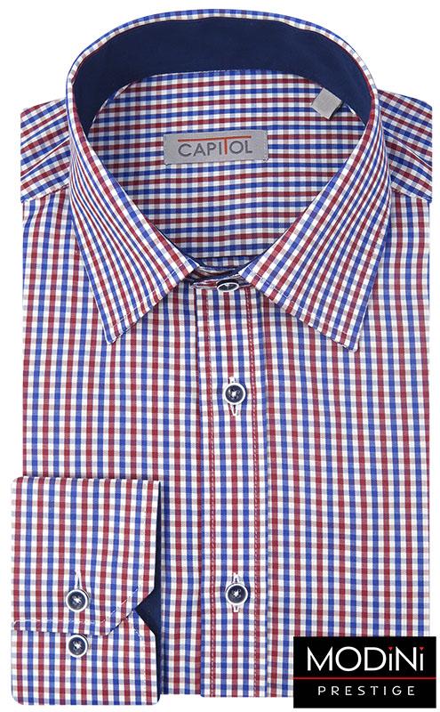 Granatowo-czerwona koszula męska w kratkę C15