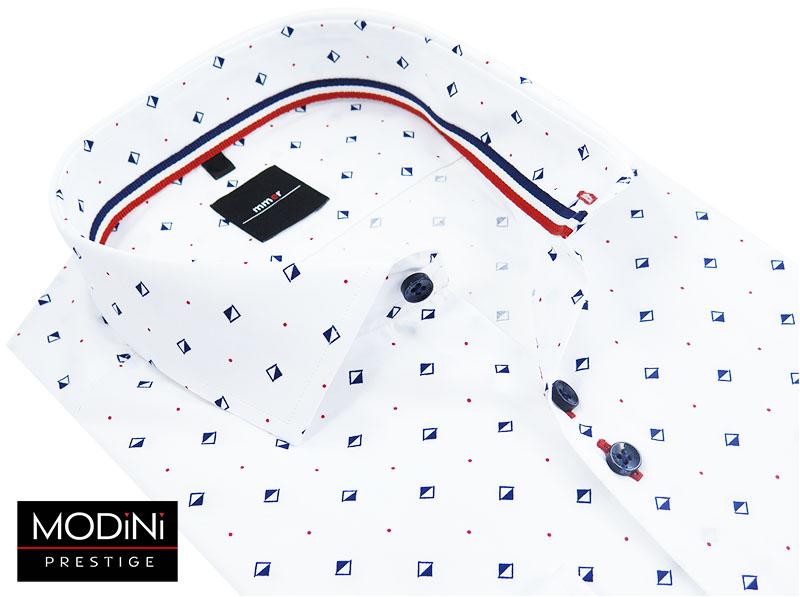 Biała koszula w granatowe kwadraty 143