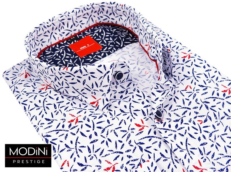 Biała koszula Mmer w granatowo-czerwony wzór 145