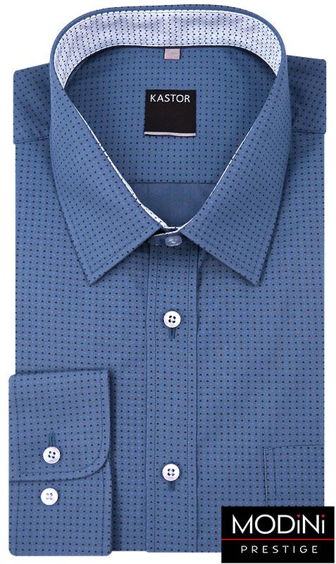 Niebieska koszula męska w czarny wzór K54