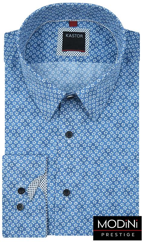 Niebieska koszula w kwiaty K33