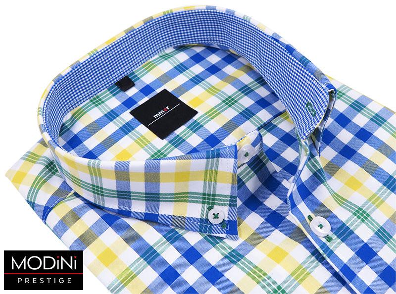 Żółto-niebiesko-zielona koszula w kratę 296