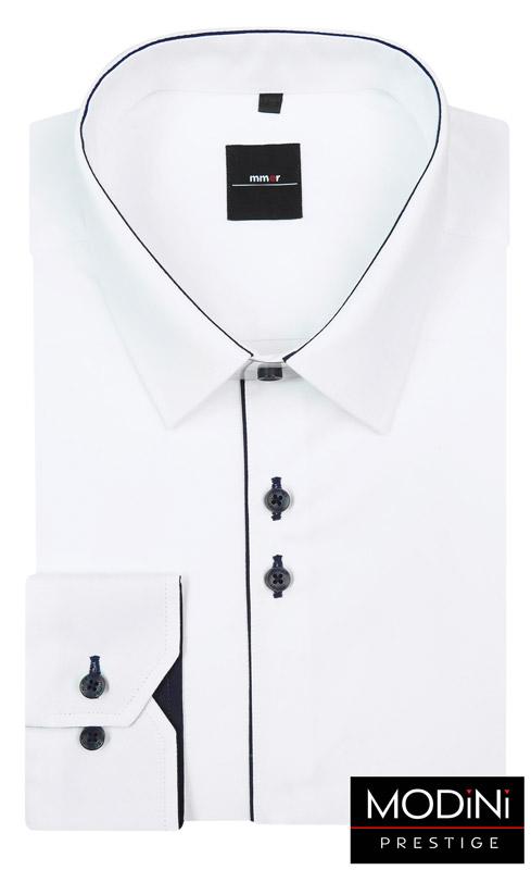 biała koszula męską z granatową lamówką