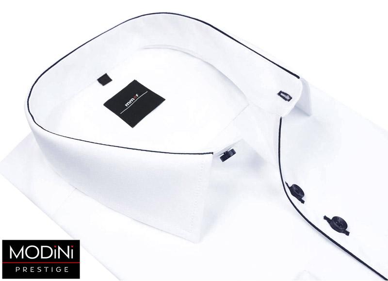 biała koszula z granatową lamówką
