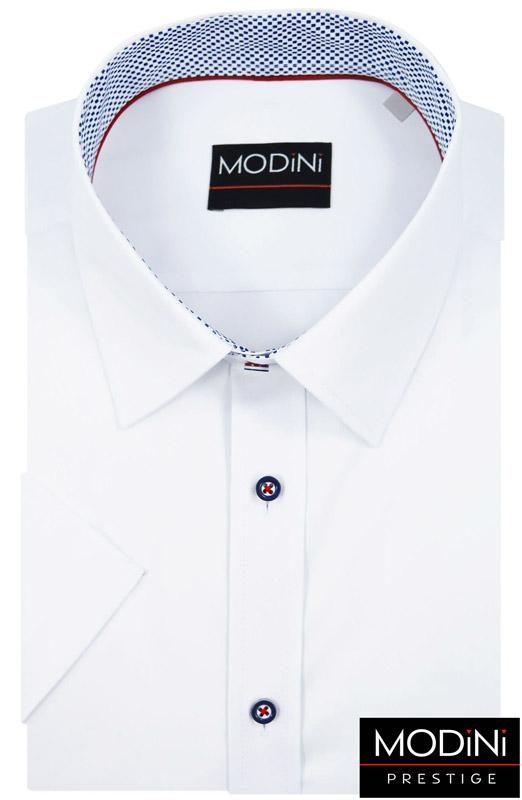 biała koszula z kolorowymi guzikami