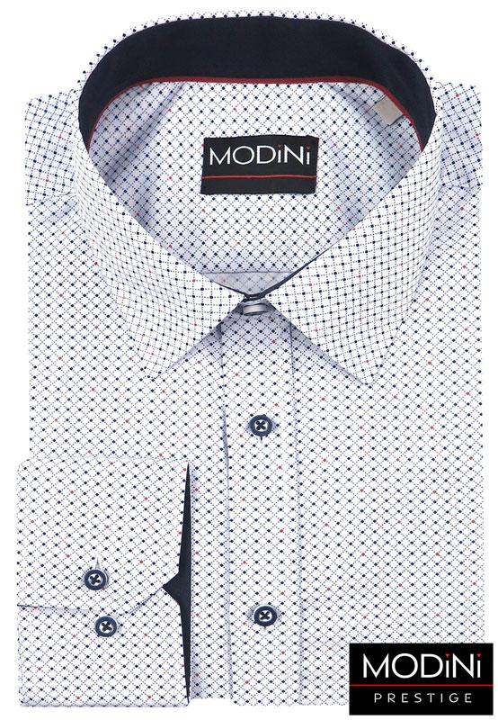 biała koszula w drobną kratkę i kropki
